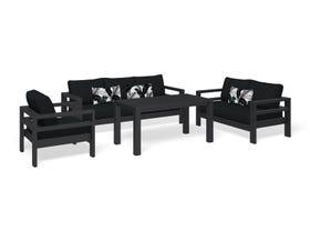 Aspen 4pc Outdoor Aluminium Lounge Dining Setting