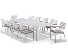 Adele table with Astra Chairs 11pc Outdoor Dining Setting