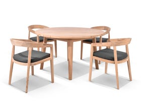 Atoll 120 Round Table with Ubud Teak Chairs -5pc Outdoor Dining Setting