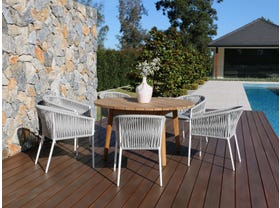 Atoll 140 Round Table with Gizella Chairs -7pc Outdoor Dining Setting
