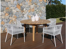 Atoll 140 Round Table with Gizella Chairs -5pc Outdoor Dining Setting