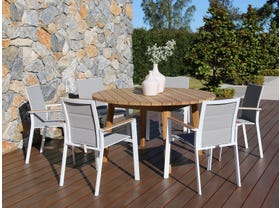 Atoll 140 Round Table with Triana Chairs -7pc Outdoor Dining Setting