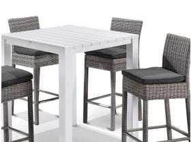 Adele Bar Table with Maldives Bar Stools - 5pc Outdoor Bar Setting