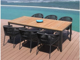 Barcelona Table with Gizella Chairs 7pc Outdoor Dining Setting