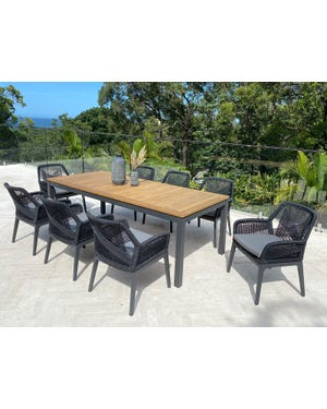 Barcelona Table with Serang Chairs 9pc Outdoor Dining Setting