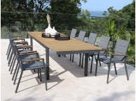 Barcelona Extension Table with Sevilla Teak Chairs 11pc Outdoor Dining Setting