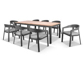 Barcelona Extension Table with Ubud Chairs 9pc Outdoor Dining Setting