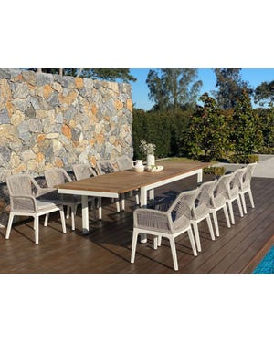 Barcelona Extension Table with Serang Chairs 11pc Outdoor Dining Setting
