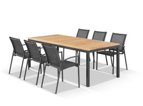 Barcelona Table with Pacific Chairs 7pc Outdoor Dining Setting