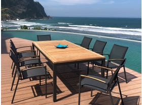 Barcelona Table with Pacific Chairs 9pc Outdoor Dining Setting