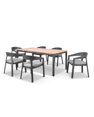 Barcelona Table with Ubud Chairs 7pc Outdoor Dining Setting
