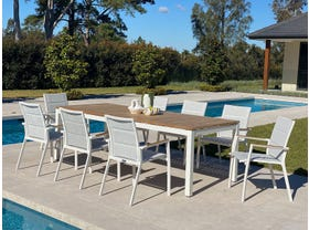 Barcelona Table with Sevilla Teak Chairs 9pc Outdoor Dining Setting