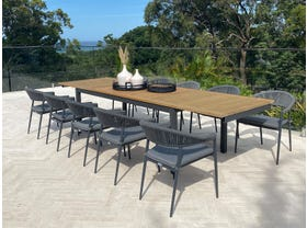 Barcelona Extension Table with Nivala Chairs 11pc Outdoor Dining Setting