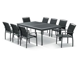 Barton Extension Table with Verde  Chairs -  11pc Outdoor Dining Setting