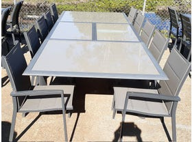 FLOOR MODEL - Barton Extension Table with Latina Chairs 11pc Outdoor Dining Setting