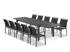 Bergen ceramic extension table with Verde Chairs 11pc Outdoor Dining Setting