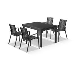 Bronte Extension table with Sevilla Rope Chairs - 9pc Outdoor Dining Setting
