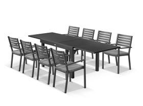 Bronte Extension table with Mayfair Chairs - 9pc Outdoor Dining Setting