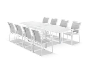 Bronte Extension table with Verde  Chairs  - 9pc Outdoor Dining Setting