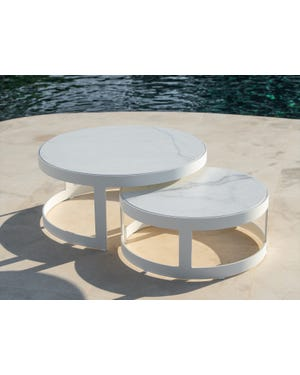 Burford Ceramic Round Coffee Table Set