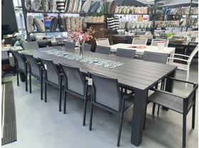 FLOOR MODEL- Capri Table with Meribel Chairs 13pc Outdoor Dining Setting