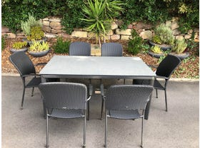FLOOR MODEL - Alutapo Table with Carlo Chairs 7pc Outdoor Dining Setting