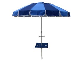 Carnivale Beach Umbrella With Sunraker - Royal/Navy -MELB ONLY