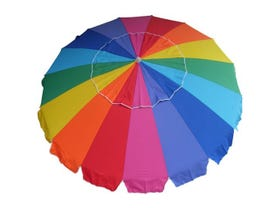 Carnivale Beach Umbrella With Sunraker - Rainbow-MELB ONLY