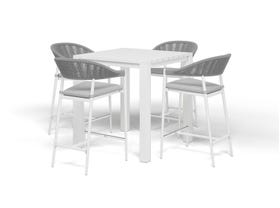 Adele Bar Table with Nivala Bar Chairs -5pc Outdoor Bar Setting