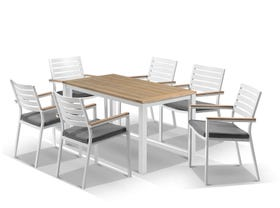 Corfu table with Astra chairs  7pc Outdoor Teak Setting