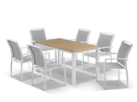 Corfu Table with Verde Chairs 7pc Outdoor Dining Setting