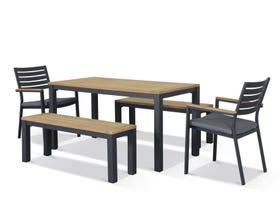 Corfu 6 Seater Outdoor Teak Bench Setting