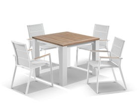 Corfu Table with Sevilla Teak Arm Chairs 5pc Outdoor Dining Setting