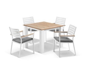 Corfu Table with Astra Chairs 5pc Outdoor Dining Setting
