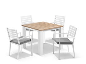 Corfu Table with Mayfair Chairs 5pc Outdoor Dining Setting