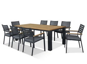 Corfu Table with Astra chairs  9pc Outdoor Teak Setting