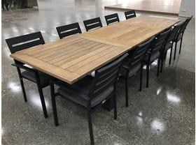 FLOOR MODEL-Corfu Extension table with Twain Chairs 11pc Outdoor Dining Setting