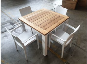 FLOOR MODEL -Corfu 95x95 Table with Paris Chairs 5pc Dining Set