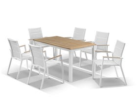 Corfu Table with Sevilla Teak Arm Chairs 7pc Outdoor Dining Setting