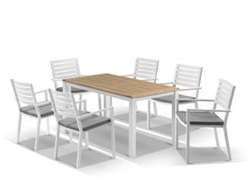 Corfu Table with Mayfair Chairs 7pc Outdoor Dining Setting