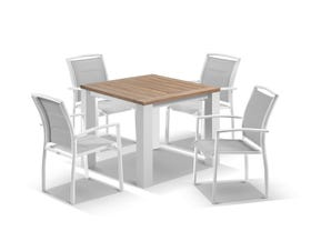 Corfu Table with Verde Chairs 5pc Outdoor Dining Setting