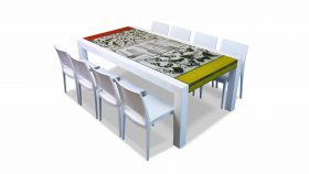 The Brando lava stone dining table 220 x 100 with 8 chairs