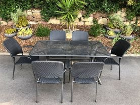 FLOOR MODEL - Tavio Table with Carlo Chairs 7pc Outdoor Dining Setting