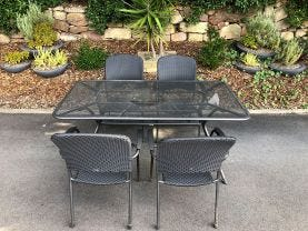 FLOOR MODEL - Tavio Table with Carlo Chairs 5pc Outdoor Dining Setting