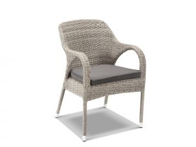 The Essex chair in Moonscape wicker with canvas coal cushion