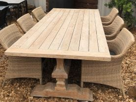 FLOOR MODEL -Malabar Table with Maldives Chairs 7pc Outdoor Dining Setting
