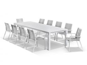 Adele table with Sevilla Rope Chairs 11pc Outdoor Dining Setting