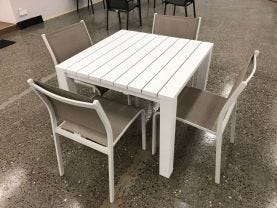 FLOOR MODEL- Adele Table with Lina Chairs 5pc Outdoor Dining Setting