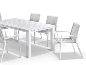 Adele table with Sevilla Rope Chairs 7pc Outdoor Dining Setting