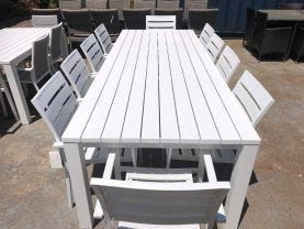 FLOOR MODEL- Adele Table with Twain Chairs 11pc Outdoor Dining Setting